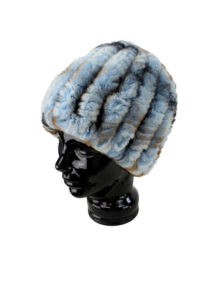 Woman's Brassy Blue Knit Rex Rabbit Fur Hat