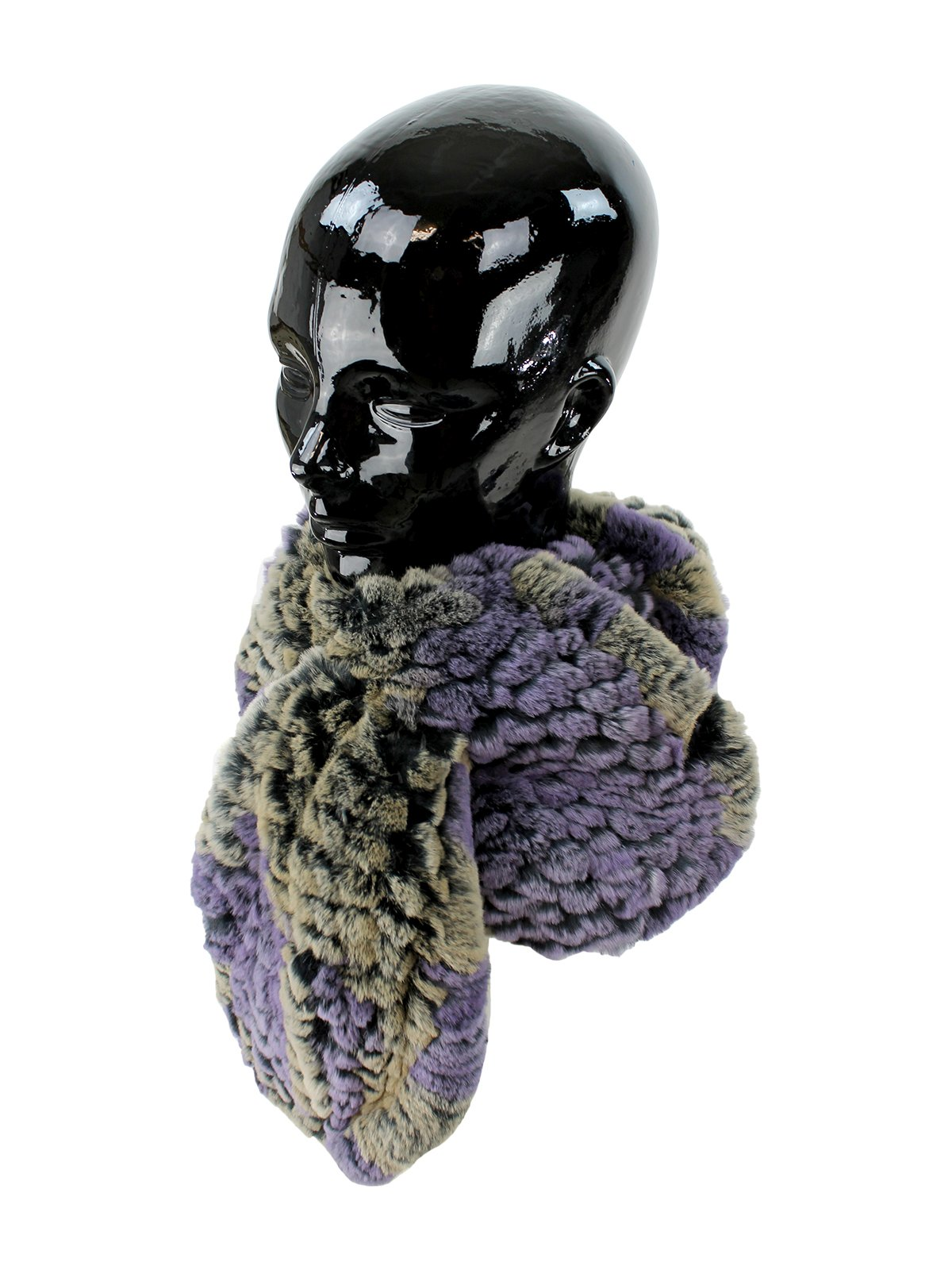 Woman's Purple and Taupe Rex Rabbit Fur Pull Through Scarf