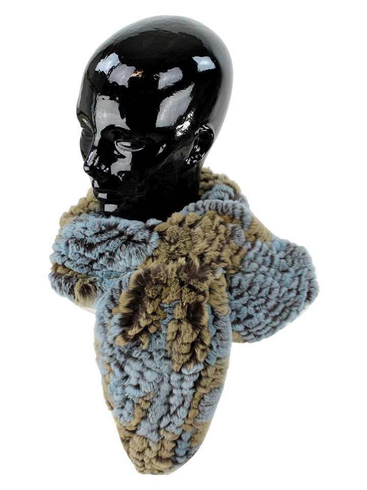 Woman's Blue and Taupe Rex Rabbit Fur Pull Through Scarf