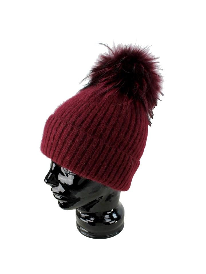 Woman's Burgundy Angora Knit Hat with Burgundy Fox Pom Pom