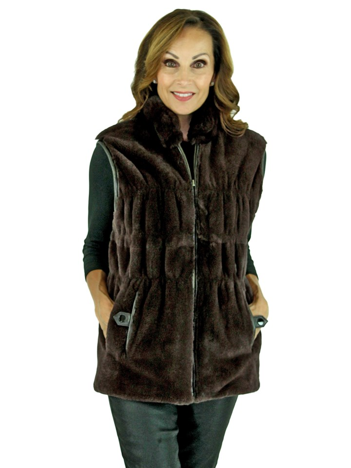Woman's Brown Sheared Rex Rabbit Fur and Knit Vest