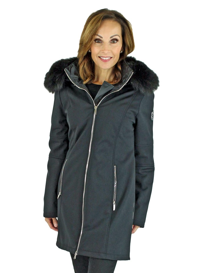 Woman's Black Insulated Stretch Fabric Ski Parka with Fox Fur Trim