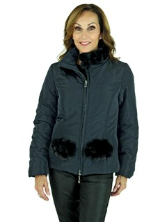 Woman's Navy Quilted Fabric Zipper Jacket with Matching Mink Fur Trim