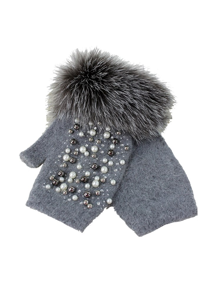 Woman's Grey Wool Knit Hand Warmers