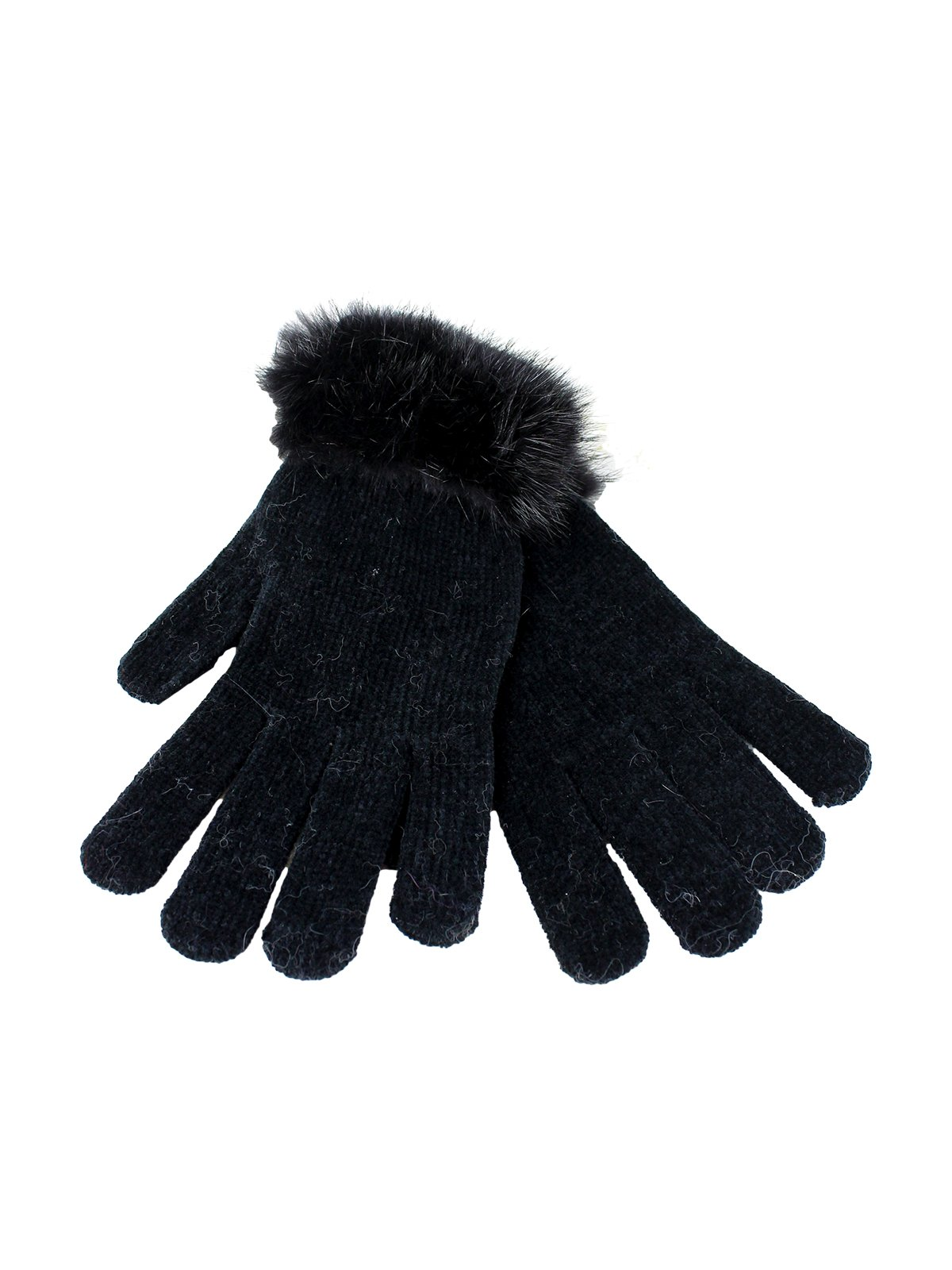 Woman's Black Knit Chenille Gloves