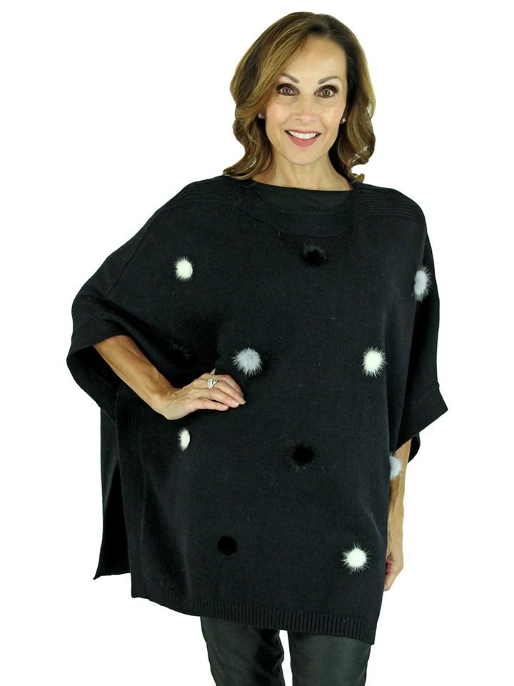 Woman's Black Knit Fashion Poncho with Mink Fur Details