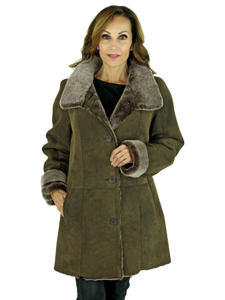 Woman's Vintage Brown Shearling Lamb Section Jacket