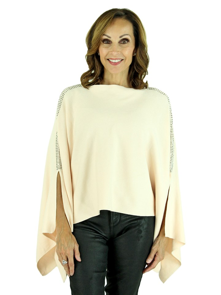 Woman's Light Peach Knit Fashion Poncho