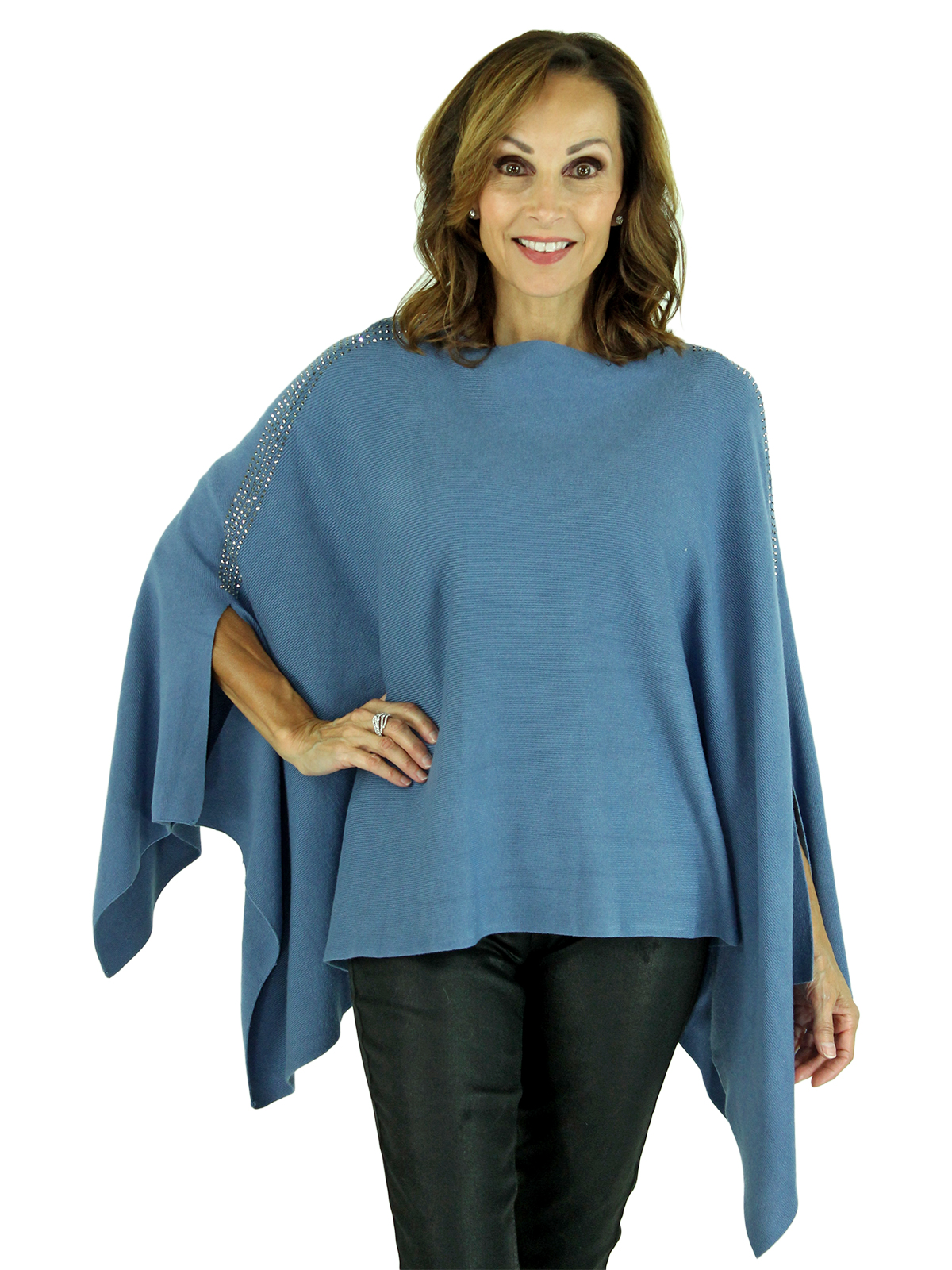 Woman's Blue Knit Fashion Poncho