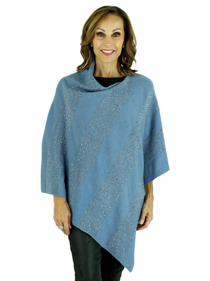 Woman's Blue Knit Fashion Poncho