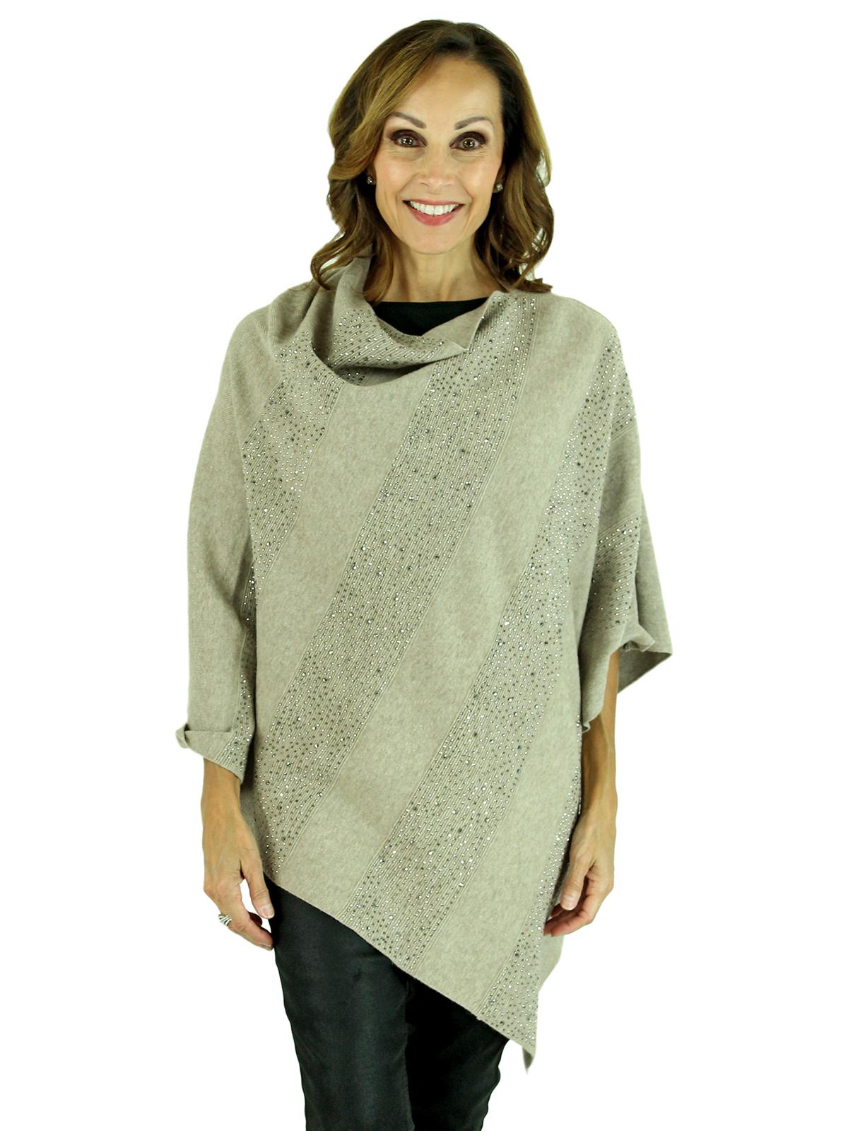 Woman's Oatmeal Beige Knit Fashion Poncho