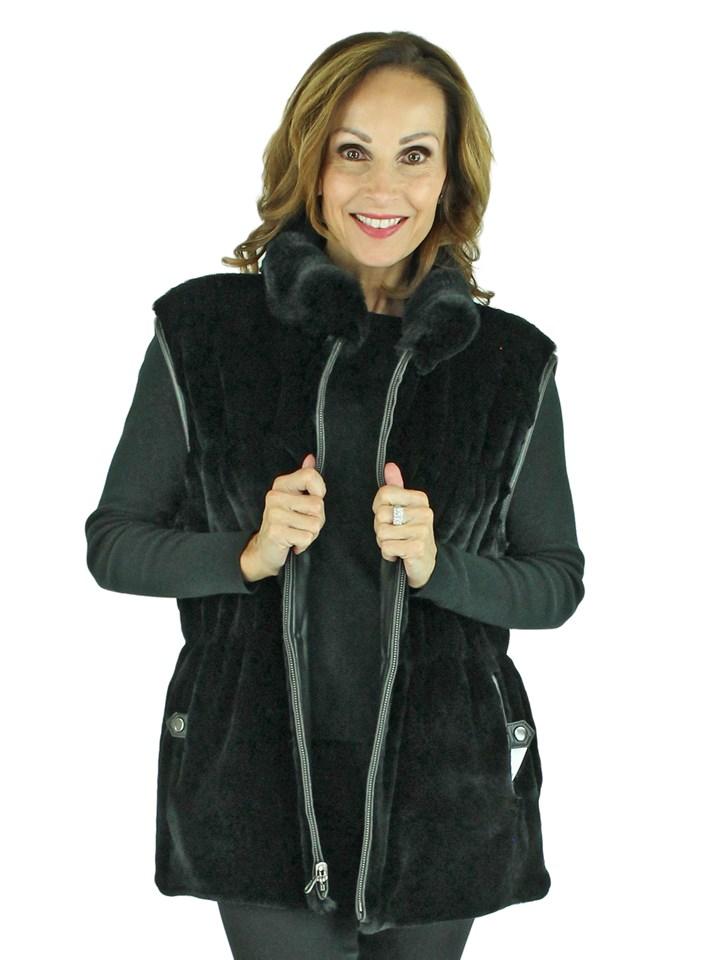 Woman's Black Sheared Rex Rabbit Fur Vest Reversible to Black Leather