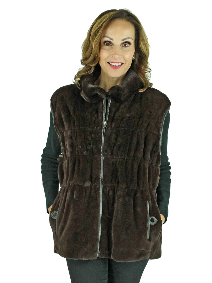 Woman's Brown Sheared Rex Rabbit Fur Vest Reversible to Brown Leather