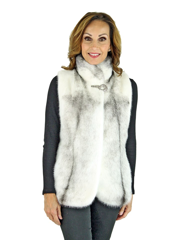 Woman's Natural Cross Mink Fur Vest
