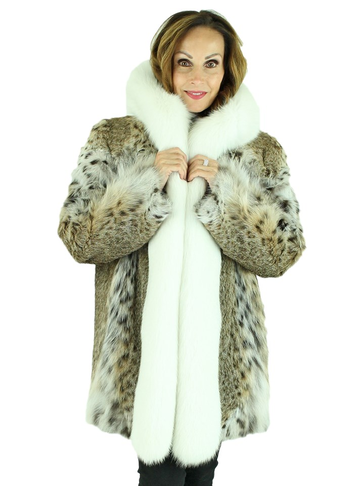 Woman's Natural Lynx Parka with White Fox Fur Trim