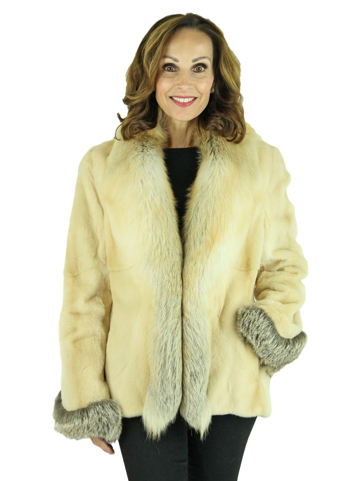 Woman's Beige Sheared Mink Fur Jacket with Golden Isle Fox Fur Trim