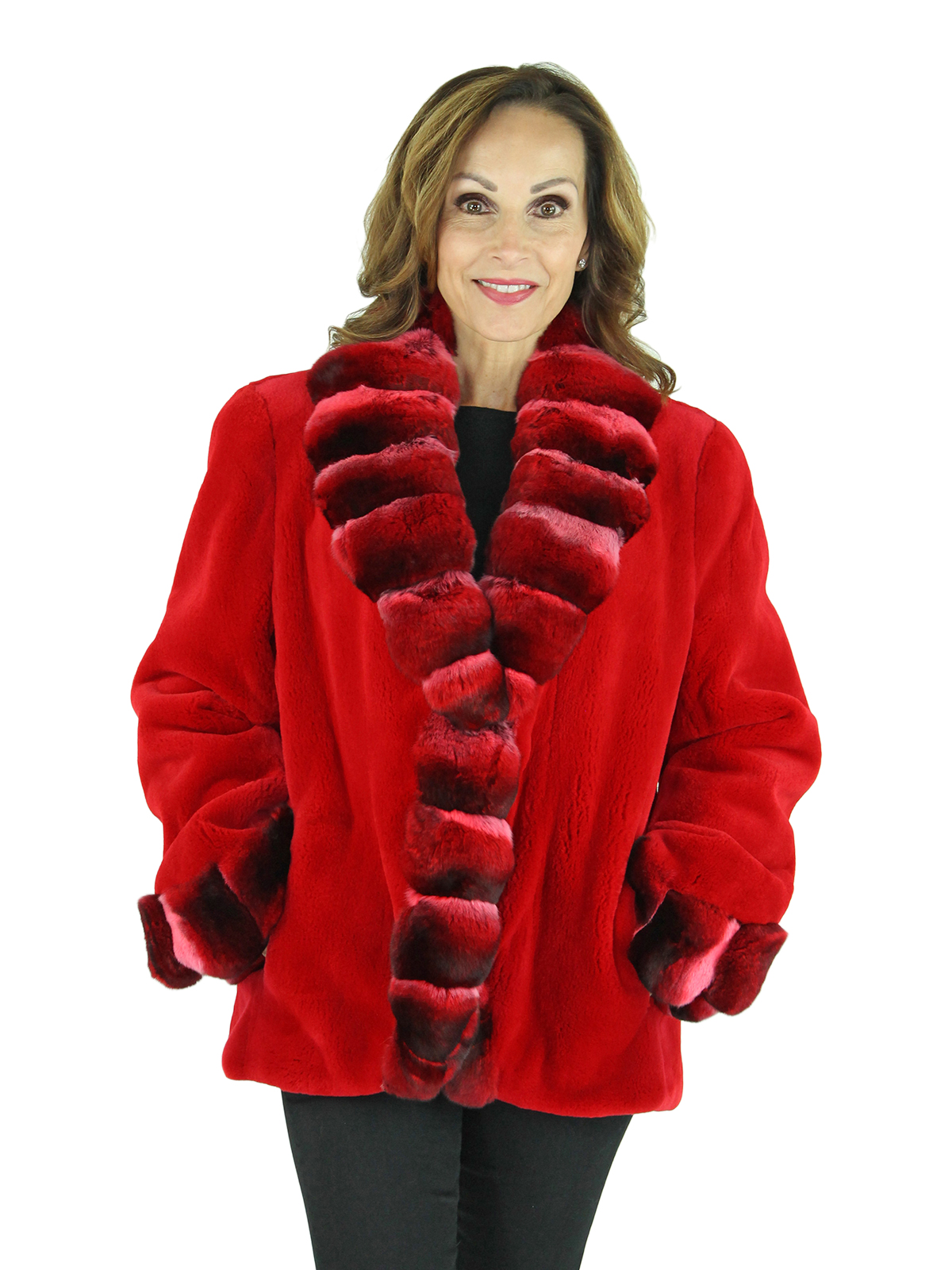 Woman's Red Sheared Mink Fur Jacket with Red Chinchilla Fur Trim