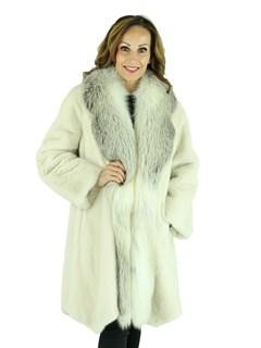Woman's Pearl Mink Fur Stroller with Light Fawn Fox Fur Trim
