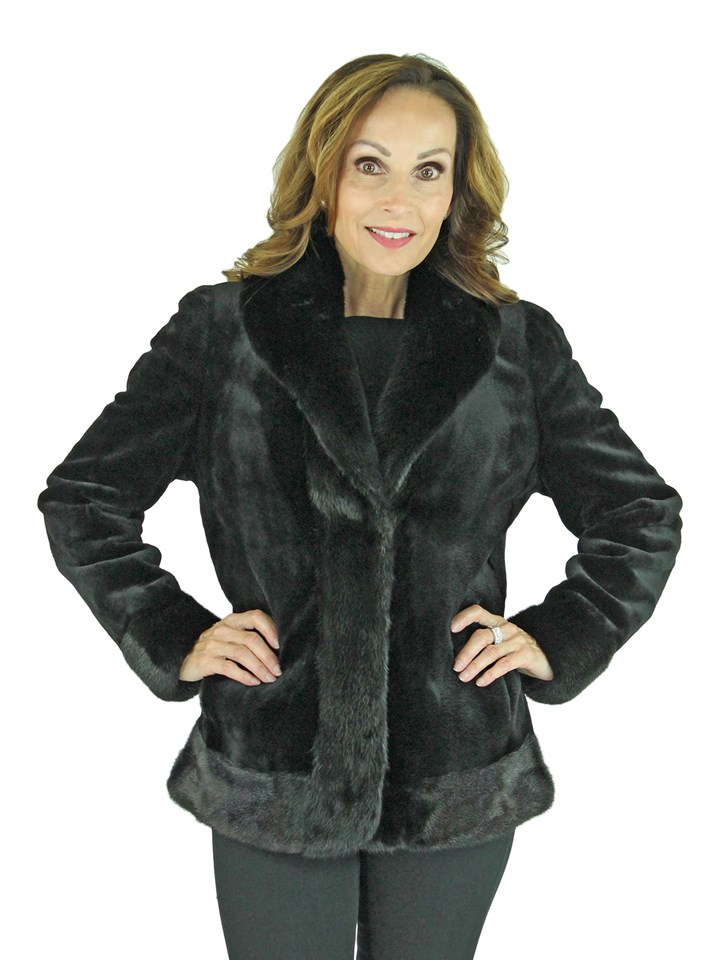 Womens Black Sheared Mink Fur Jacket