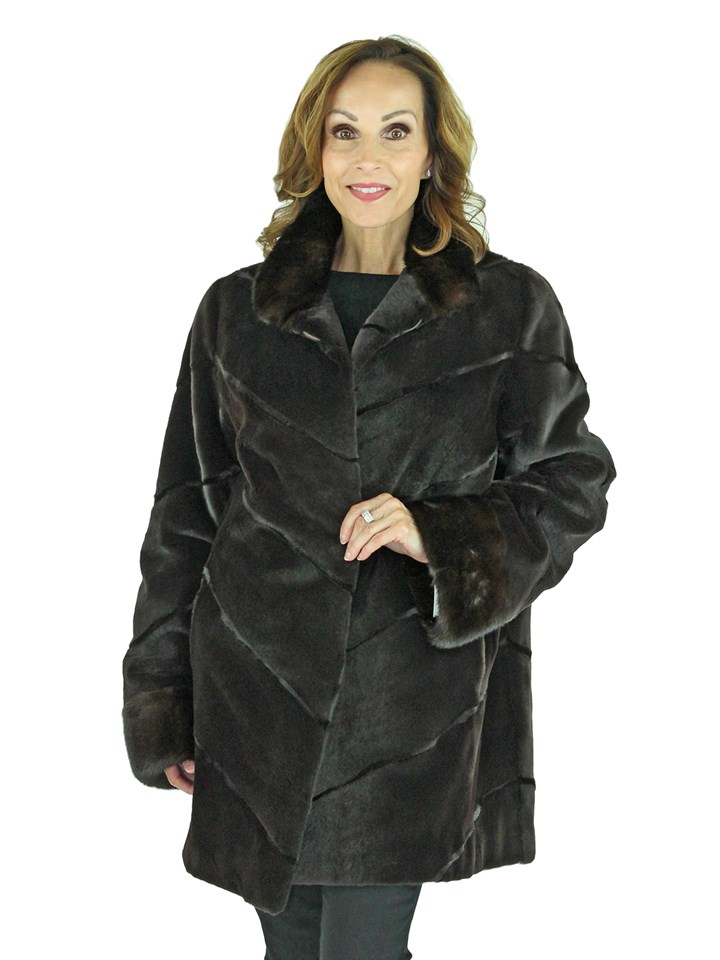 Woman's Brown Sheared Mink Fur Stroller