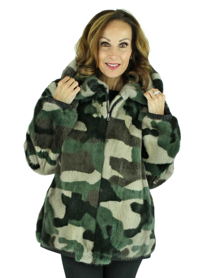 Woman's Camo Mink Fur Jacket with Hood
