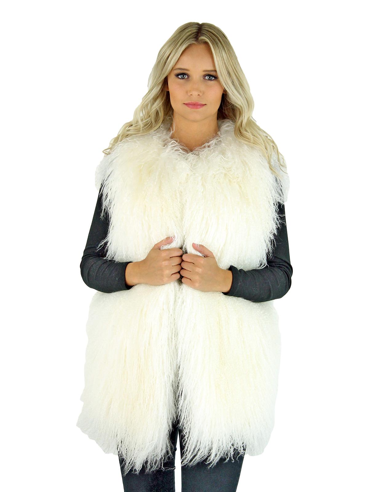 Woman's White Tibetan Lamb Fur Vest