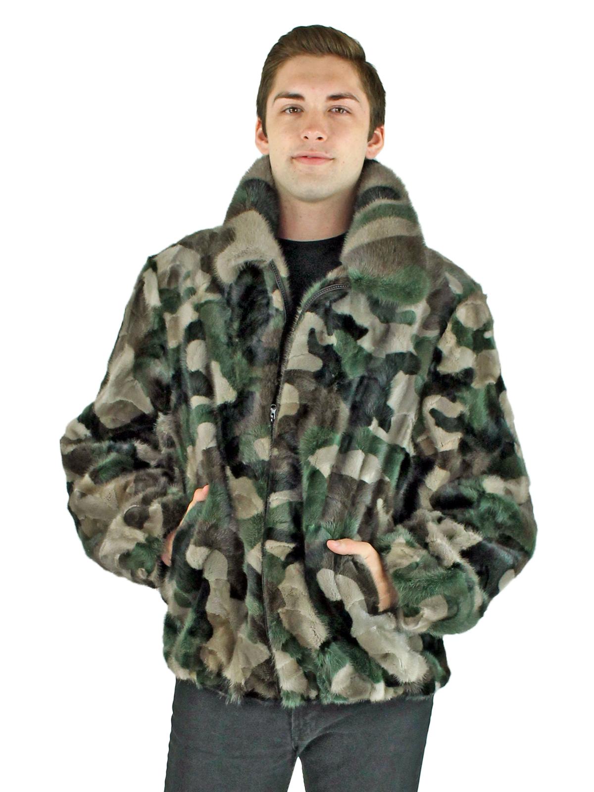 Men's Camo Mink Fur Section Jacket