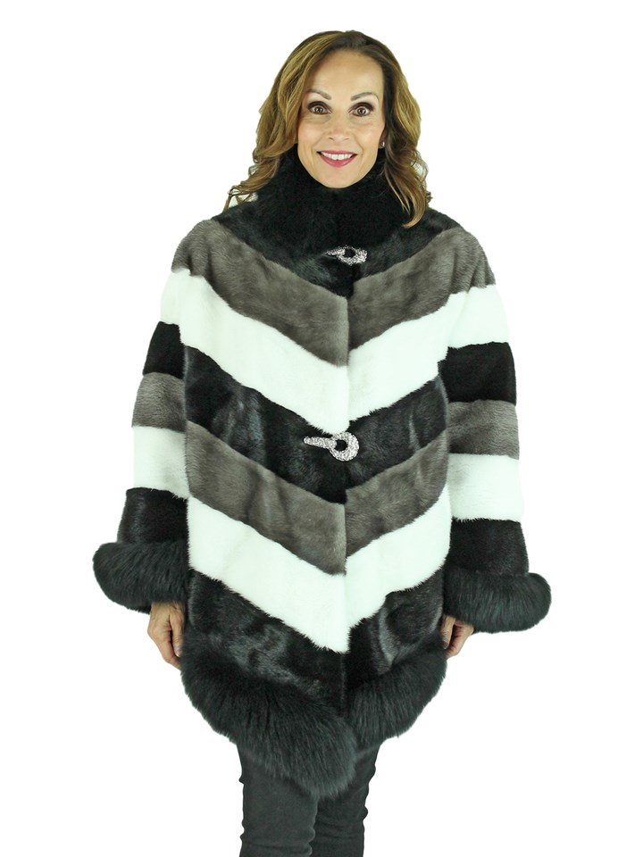 3 Tone Mink Fur Cape with Black Fox Trim