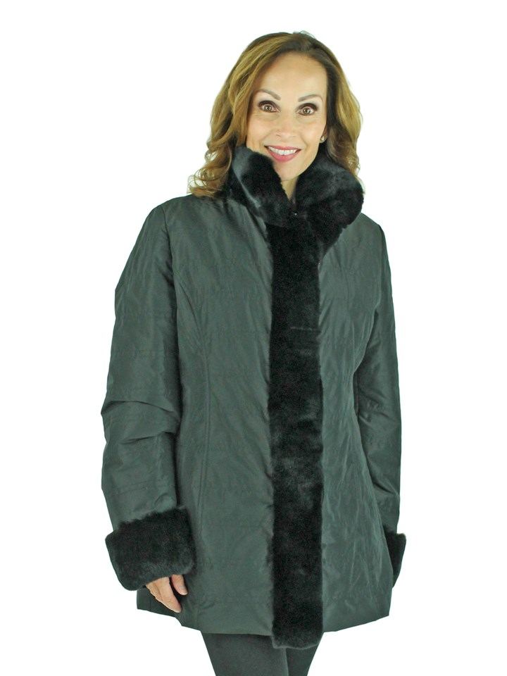 Woman's Black Taffeta Jacket with Rex Rabbit Tuxedo Front