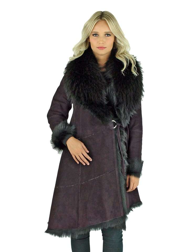 Woman's Burgundy Shearling Goat Stroller with Black Raccoon Collar