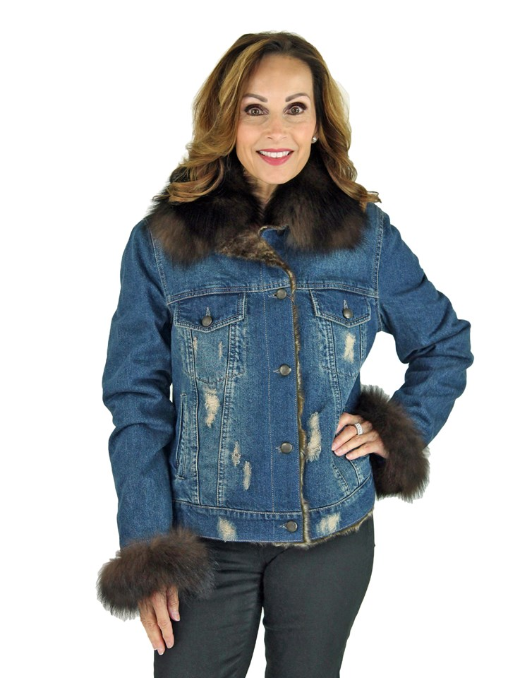 Woman's Denim Jean Jacket with Shearling Lining and Sable Dyed Fox Trim