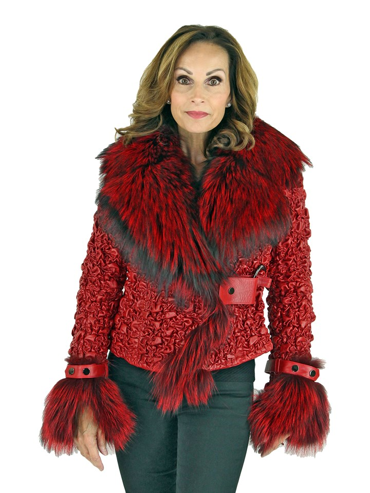 Woman's Flame Red Stretch Leather Jacket with Fox Trim