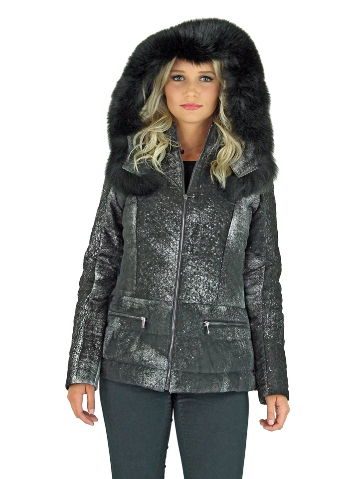 Woman's Black Snow Top Suede Jacket with Detachable Hood