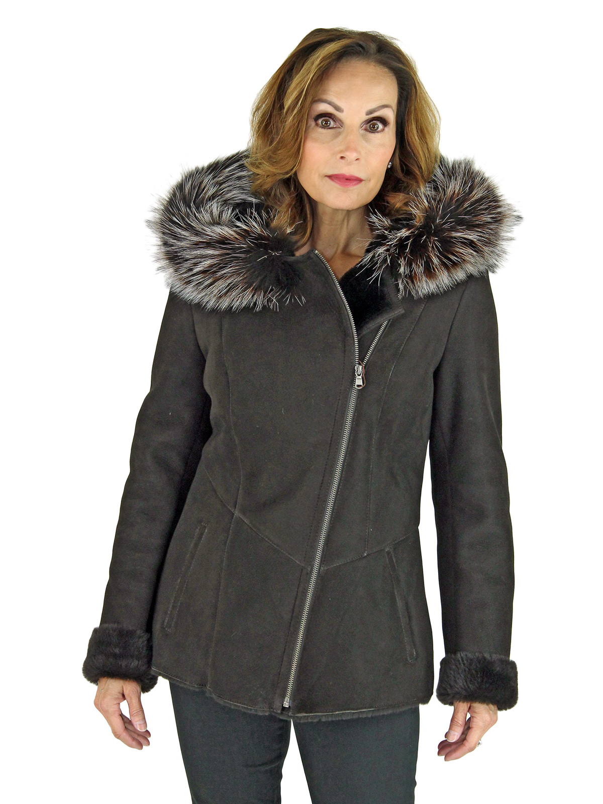 Woman's Brown Shearling Lamb Jacket with Mocha Fox Fur Trimmed Hood