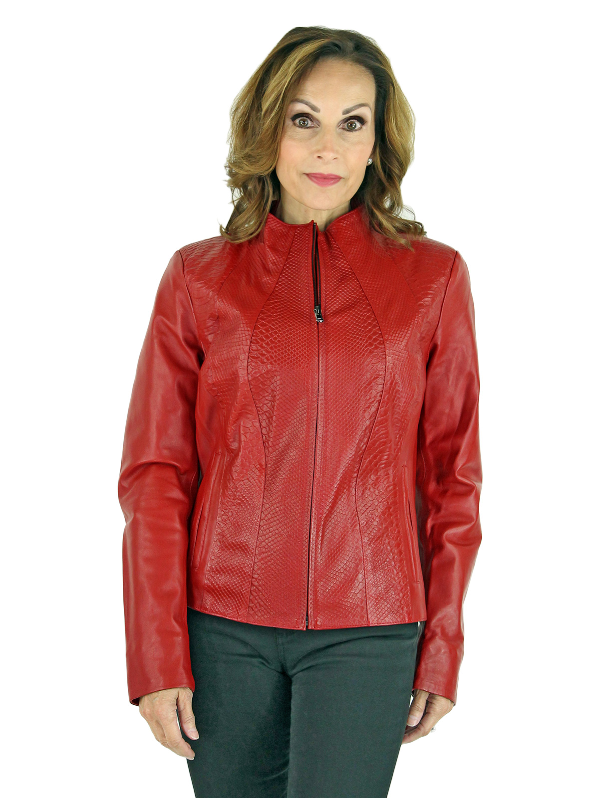 Woman's Red Python Printed Leather Zipper Jacket