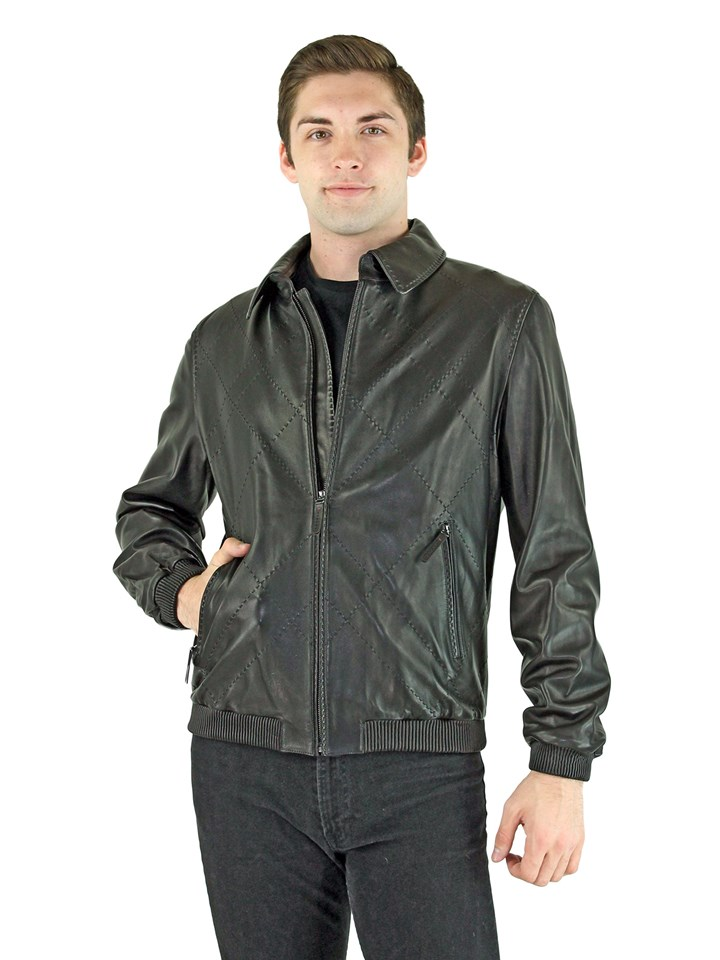 Man's Black Leather Zipper Jacket with Detachable Collar