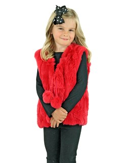 Kid's Melon Red Rex Rabbit Section Fur Vest