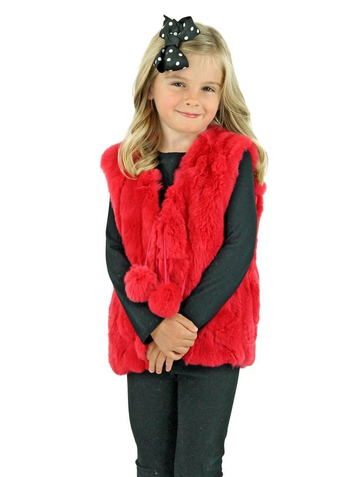 Kid's Melon Red Rex Rabbit Section Fur Vest