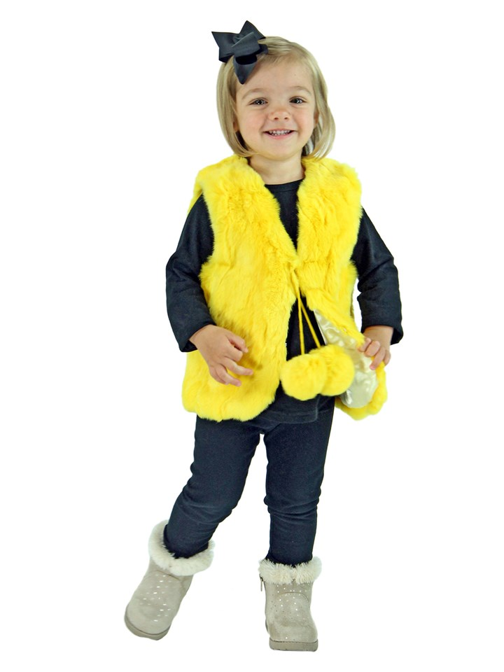 Kid's Yellow Rex Rabbit Section Fur Vest
