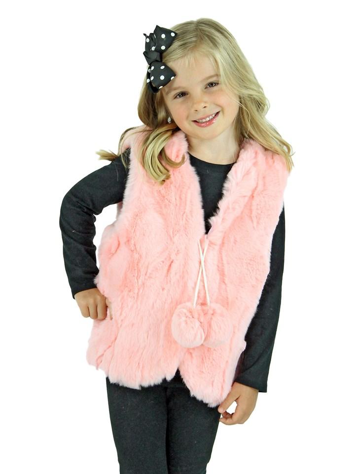 Kid's Pink Rex Rabbit Section Fur Vest
