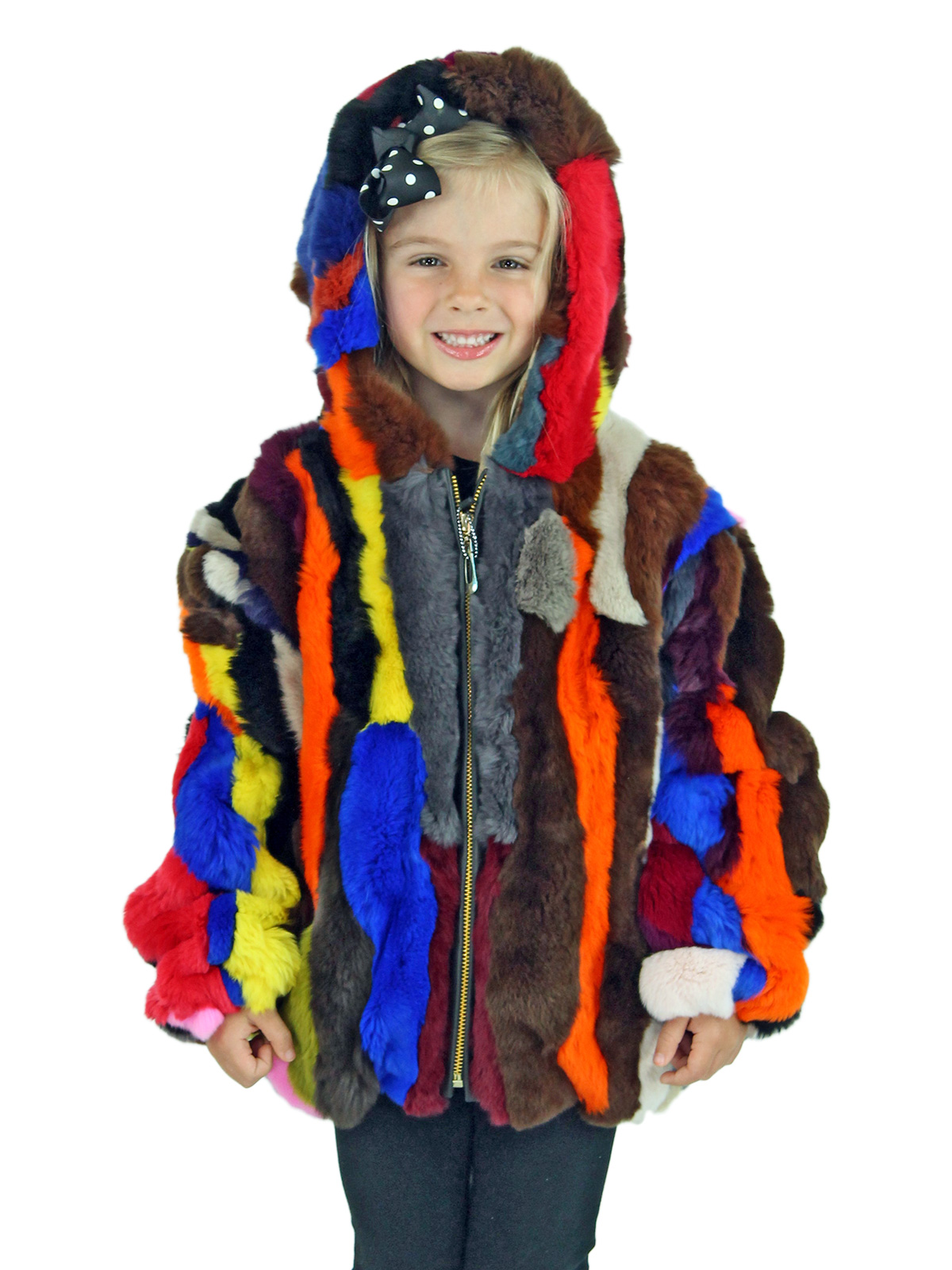 Kid's Multicolored Rex Rabbit Section Fur Jacket with Hood