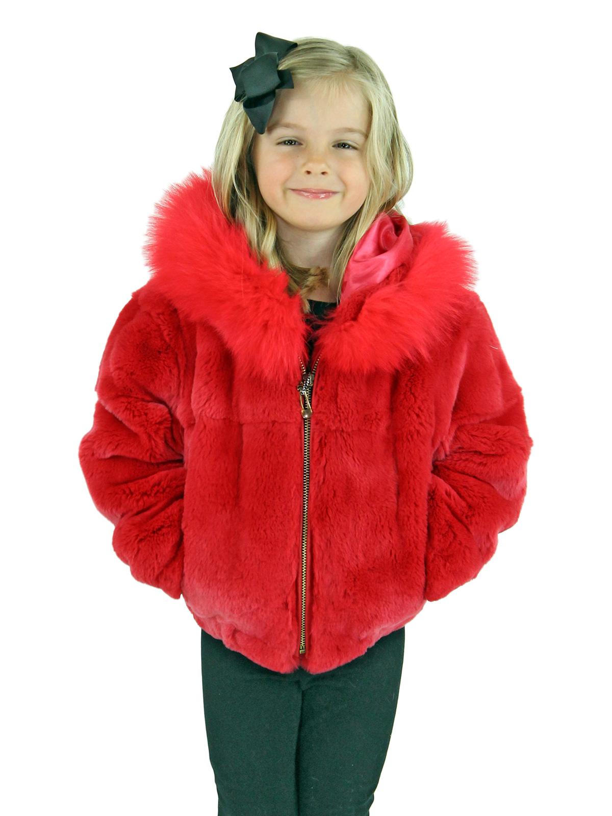 Kid's Coral Rex Rabbit Fur Jacket with Hood