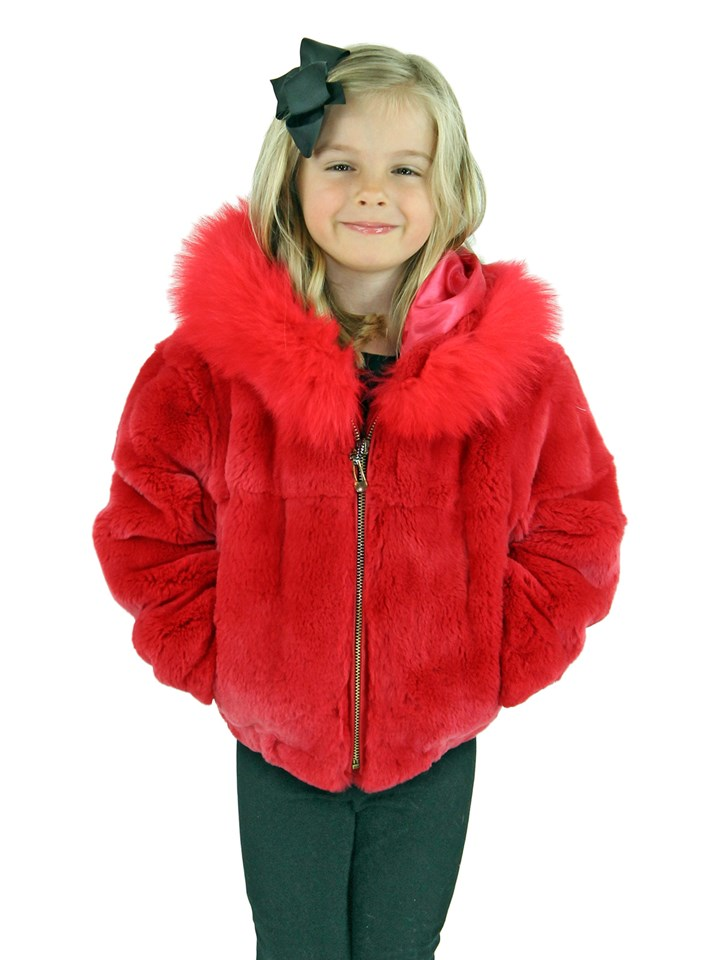 Kid's Coral Rex Rabbit Fur Jacket with Hood