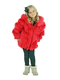 Kid's Coral Rex Rabbit Section Fur Jacket with Hood
