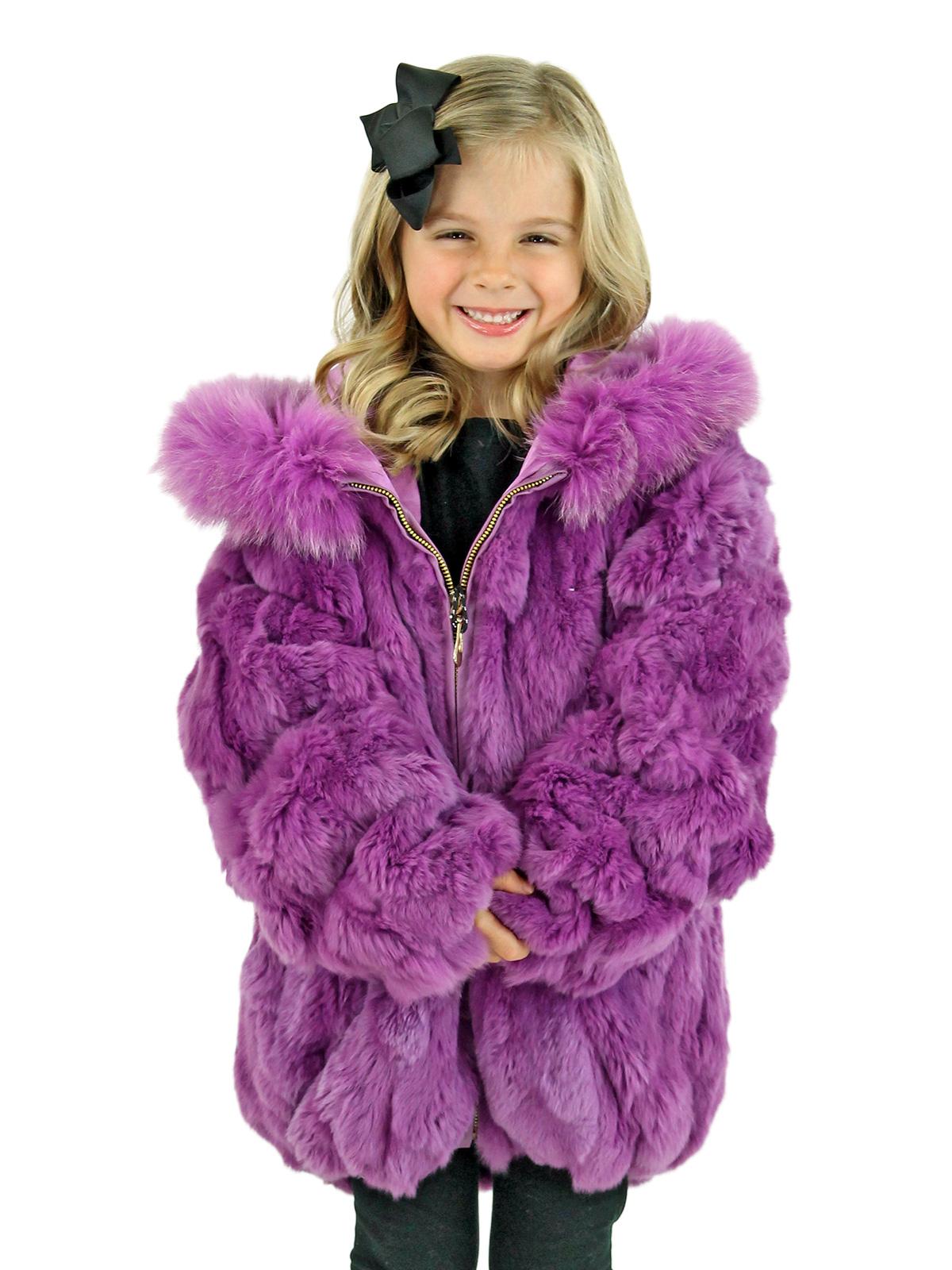 Kid's Purple Rex Rabbit Section Fur Jacket with Hood