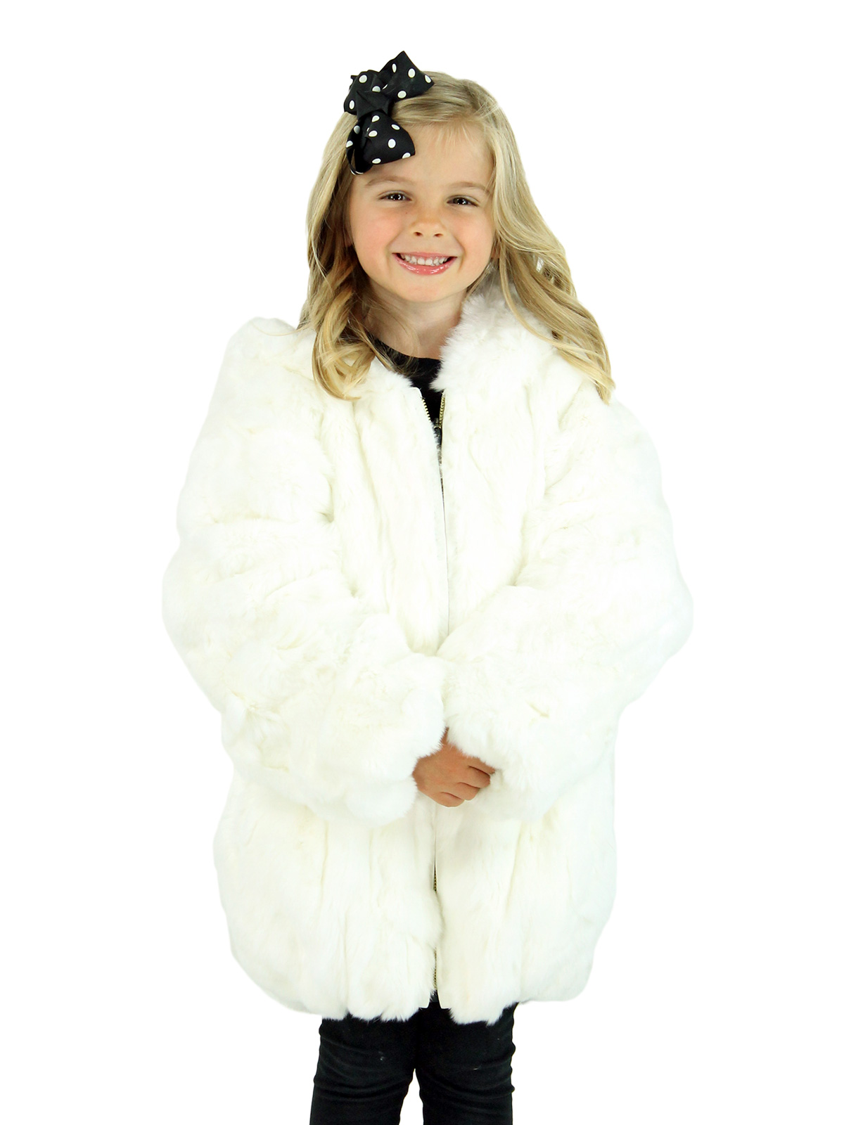 Kid's White Rex Rabbit Section Fur Jacket with Hood