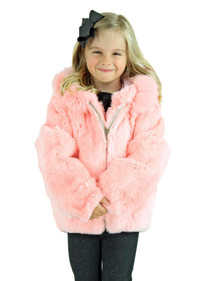 Kid's Pink Rex Rabbit Fur Jacket with Hood