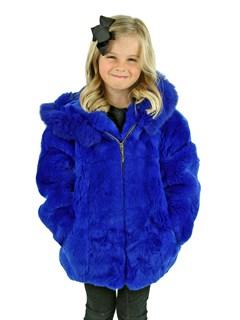 Kid's Royal Blue Rex Rabbit Fur Jacket with Hood