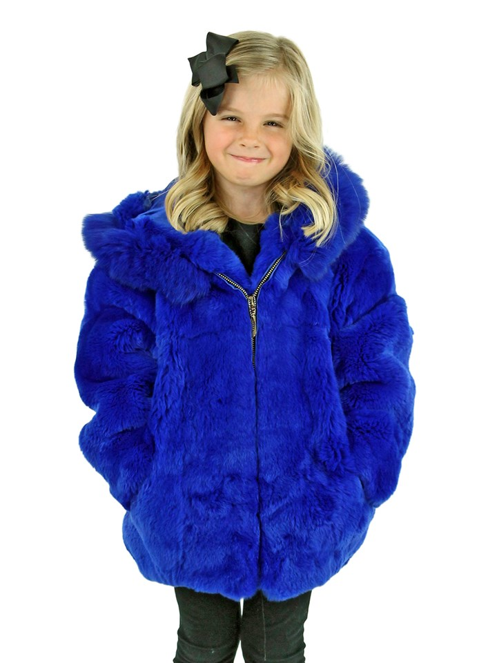 Kid's Royal Blue Rex Rabbit Fur Jacket with Hood