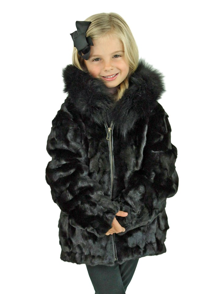 Kid's Black Diamond Mink Fur Jacket with Hood